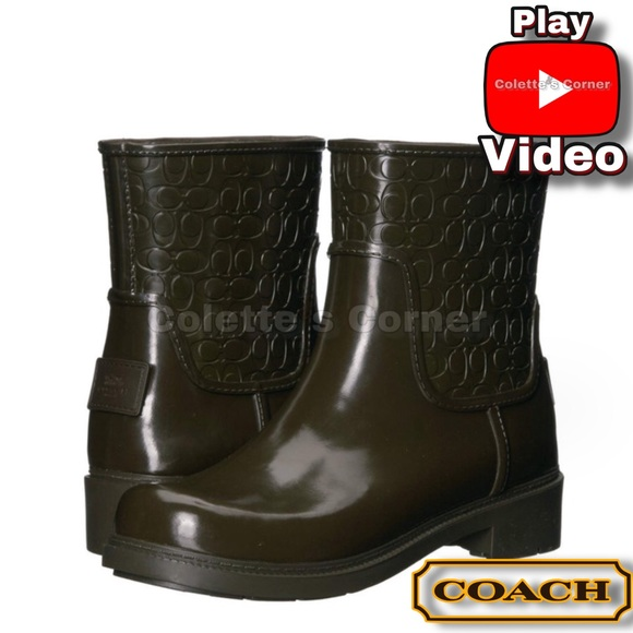 Coach Signature Fern Green Rain Boot Booties